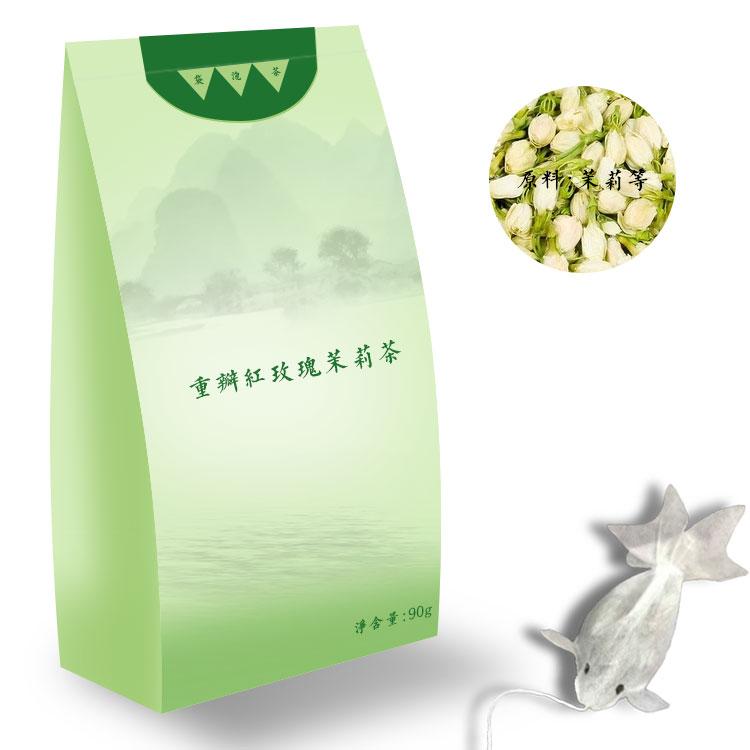 重瓣红玫瑰茉莉茶代加工-花茶OEM提供电商品牌定制